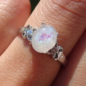 Jewelry - White Faux Opal Gemstone Silver Ring Size 7